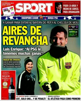 Portada SPORT: Barça-PSG por la Champions League
