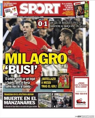 Portada Sport: Busquets salva al Barça ante el valencia