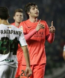 Elche 0-Barcelona 4. Octavos Copa del Rey (vuelta) Sergi Roberto festeja su gol