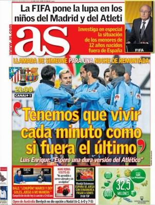 Portada AS: Atlético vs. Barça Copa del Rey