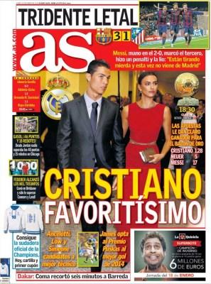 Portada AS: Cristiano favorito al Balón de Oro
