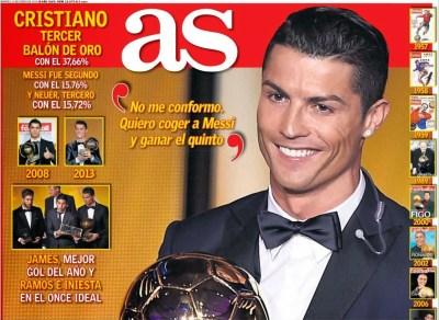 Portada AS: Cristiano Ronaldo Balón de Oro 2014