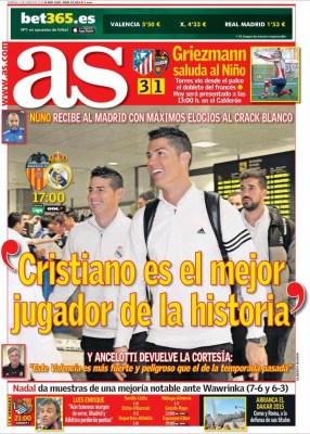 Portada AS: Cristiano es el mejor jugador de la historia