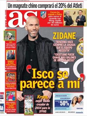 Portada AS: Zidane elogia a Isco