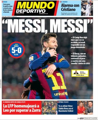 Portada Mundo Deportivo: el Camp Nou corea a Messi