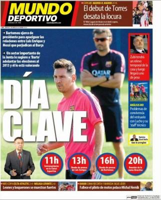 Portada Mundo Deportivo: crisis en el Barça, día clave