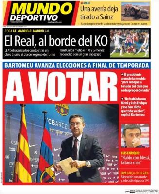 Portada Mundo Deportivo: a votar bartomeu convoca elecciones