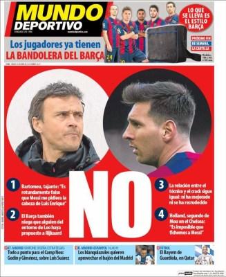 Portada Mundo Deportivo: la crisis Messi-Luis Enrique