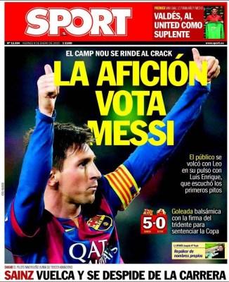 Portada Sport: la afición vota a Messi