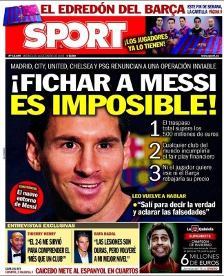 Portada Sport: Fichar a Messi es imposible