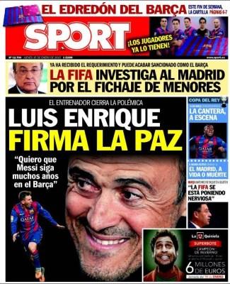 Portada Sport: Luis Enrique firma la paz