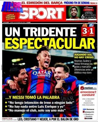 Portada Sport: tridente espectacular