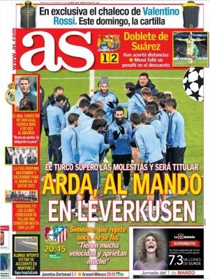 Portada AS: Arda al mando en Leverkusen