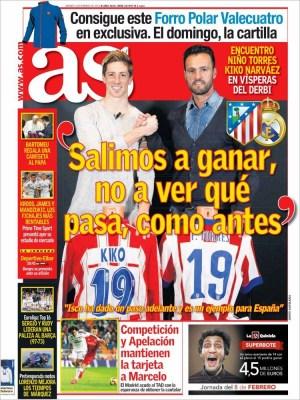 Portada AS: se viene el derbi Atlético-Real Madrid