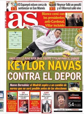 Portada AS: Keylor Navas contra el Depor