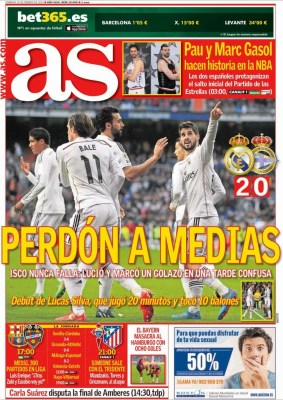 Portada AS: perdón a medias real madrid deportivo