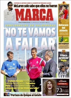Portada Marca: Cristiano, Iker y Florentino