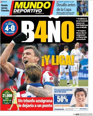 Portada Mundo Deportivo: Baño y Liga el atletico humilla 4-0 al Real Madrid