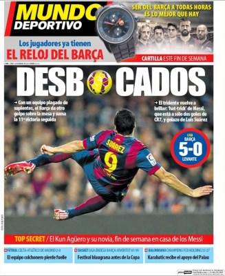 Portada Mundo Deportivo: Desbocados chilena suarez barcelona levante