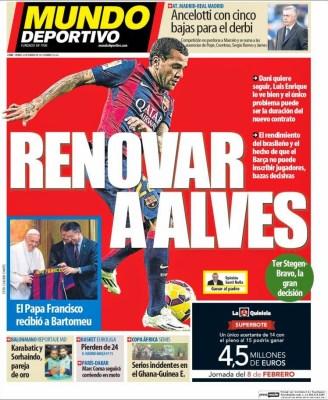 Portada Mundo Deportivo: renovar a Alves