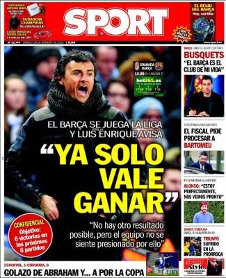 Portada Sport: al Barça solo le vale ganar