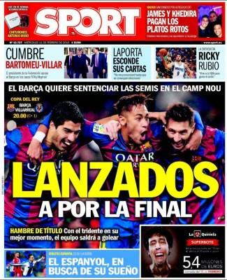 Portada Sport: lanzados a por la final barcelona villarreal
