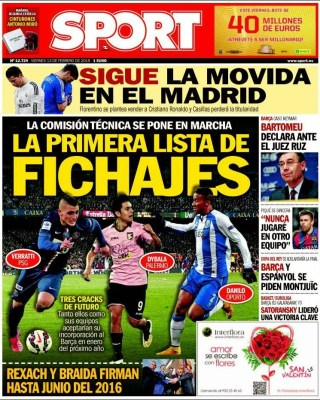 Portada Sport: fichajes