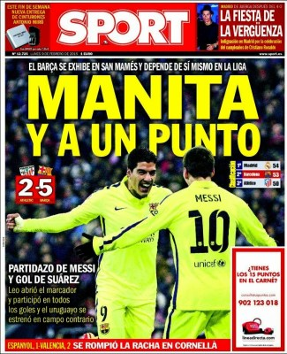 Portada Sport: manita y a un punto barcelona athletico