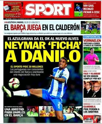 Portada Sport: Neymar ficha a Danilo