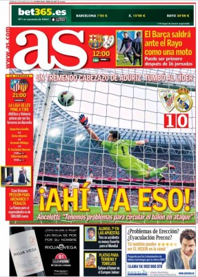 Portada AS: Ah va eso madrid pierde 1-0 con Athletic bilbao sa nmames