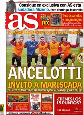 Portada AS: Ancelotti invitó a mariscada