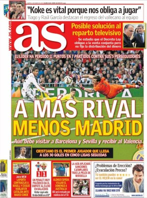Portada AS: a mas rival menos Madrid