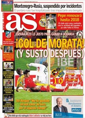 Portada AS: España vence a Ucrania gol morata