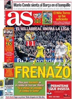 Portada AS: Frenazo al Madrid empata villarreal