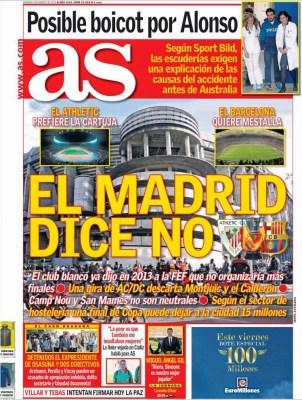 Portada AS: el Madrid dice no a la final copa rey
