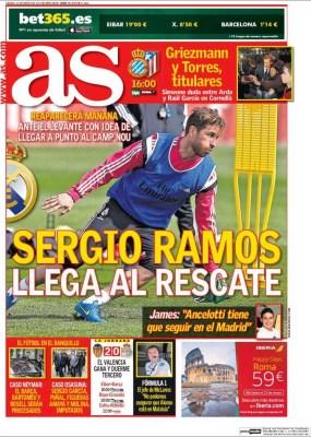 Portada As: Sergio Ramos al rescate