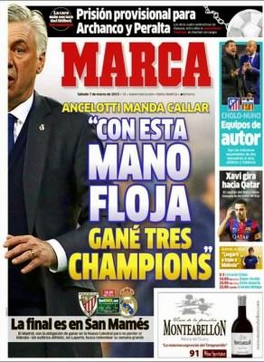 Portada Marca: Carlo Ancelotti mano floja champions
