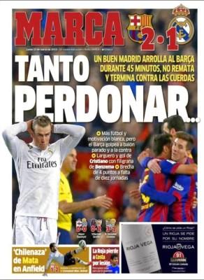 Portada Marca: Tanto perdonar... el barcelona vence al real madrid 2-1 clasico