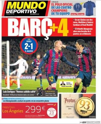 Portada Mundo Deportivo: El Barça a 4 del Madrid vence en clásico