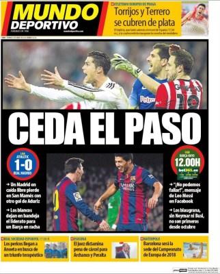Portada Mundo Deportivo: Ceda el paso