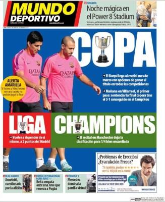 Portada Mundo Deportivo: el Barça busca el triplete