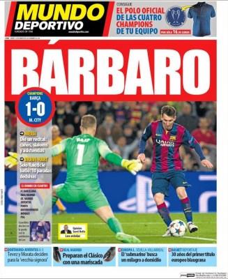 Portada Mundo Deportivo: Bárbaro Barça elimina al citi y pasa a cuartos de champions 2015