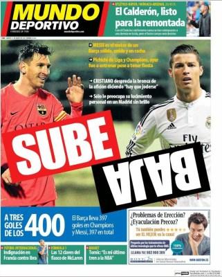 Portada Mundo Deportivo: Messi sube, Cristiano baja