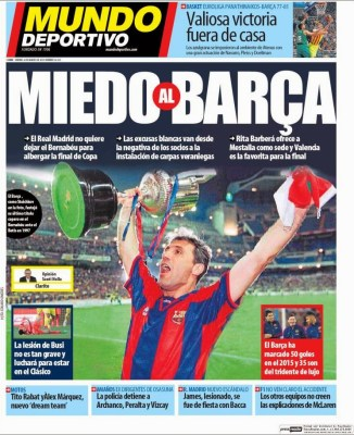 Portada Mundo Deportivo: Miedo al Barça copa rey