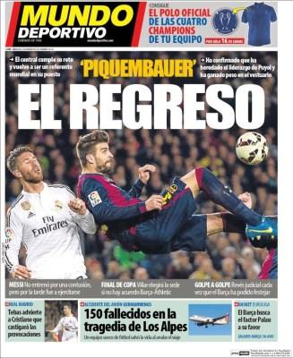 Portada Mundo Deportivo: Piquembauer