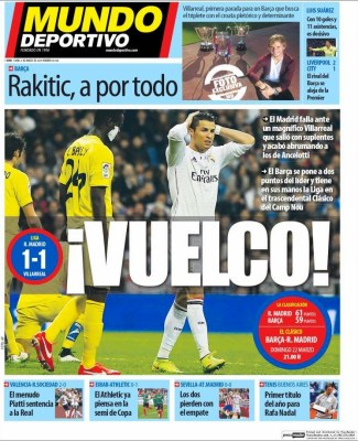 Portada Mundo Deportivo: Vuelco madrid villarreal empate
