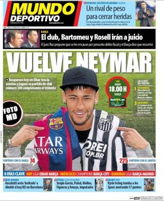 Portada Mundo Deportivo: vuelve Neymar