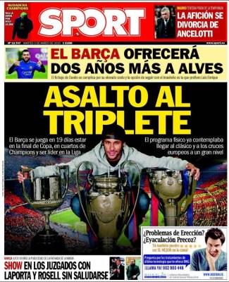 Portada Sport: asalto al triplete