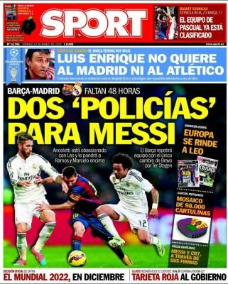 Portada Sport: Dos policías para Messi