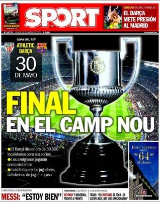 Portada Sport: final de Copa del Rey en el Camp Nou